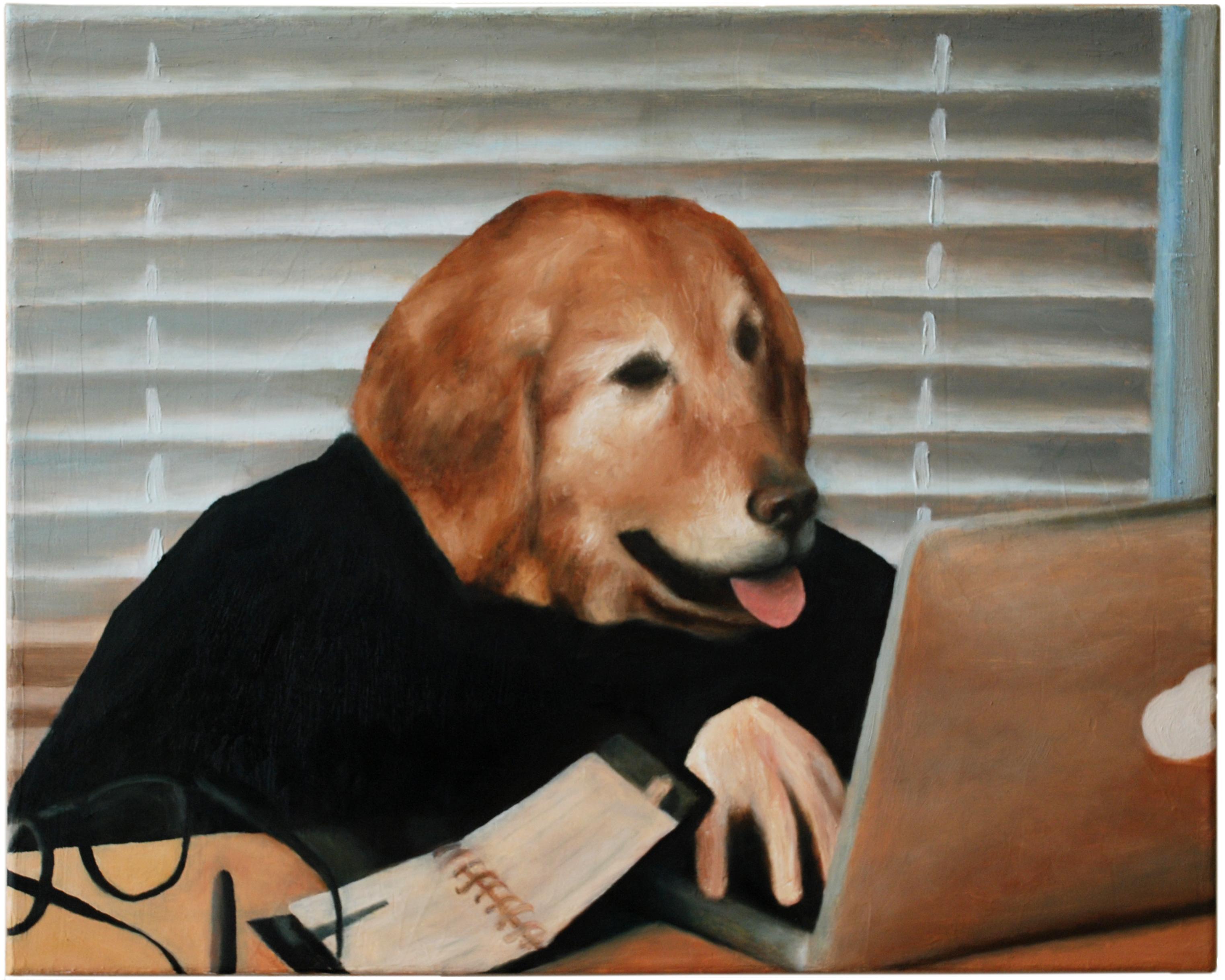 DOGGO (Still einer Office-Dog-Gif), 2019  40 x 50 cm Öl auf Leinwand