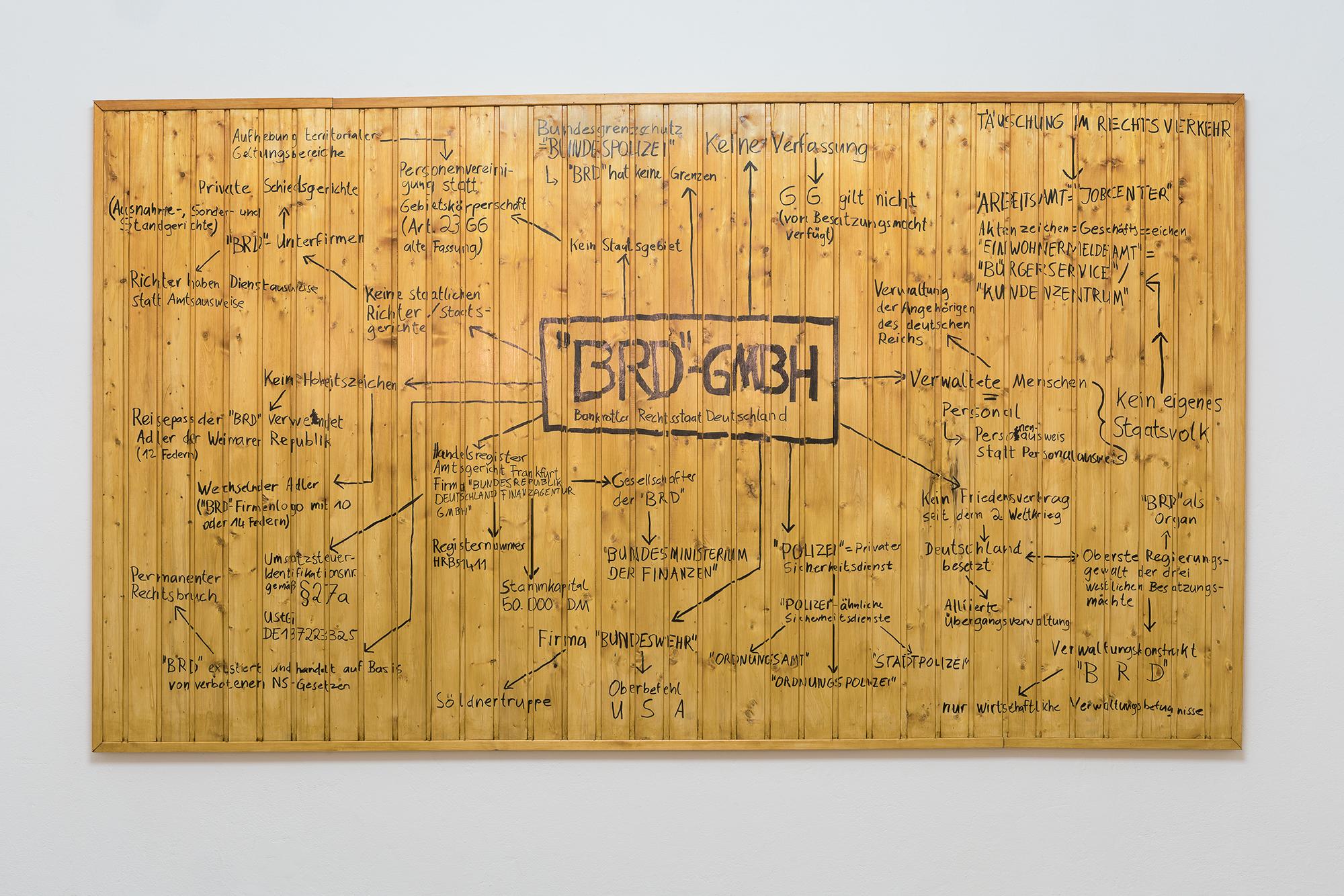 """Nicholas Warburg """"Die normative Kraft des Faktischen"""" 2019 170 x 300 cm edding on  wood Photo by Sascha Herrmann"""