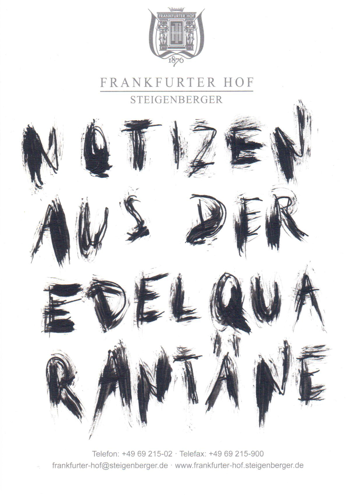 Notiz 1 Serie: Notizen aus der Edelquarantäne 2020 15 x 10 cm Acryl und Fineliner auf Hotelpapier