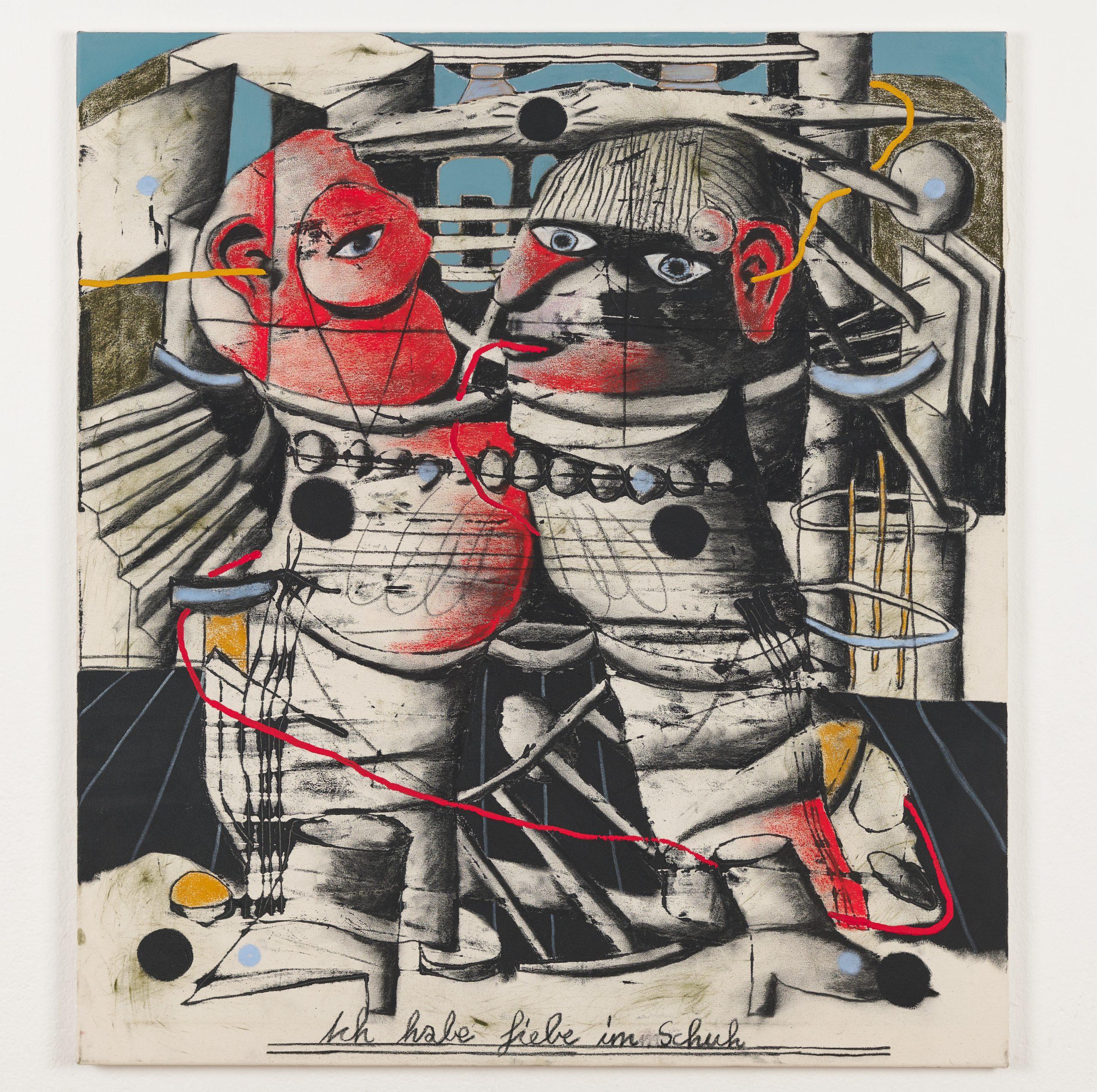 Ferdinand Dölberg Ich habe Liebe im Schuh 2020 100 x 90 cm Monotype, acrylic, coal, chalk on canvas
